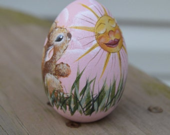 Hand Painted Bunny and Sun Egg, on a Wooden Egg