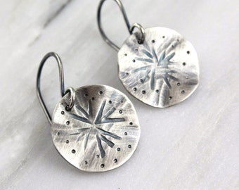 Wavy Stamped Rustic Silver Star Earrings