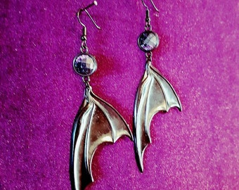 Black BatWings Earrings - galaxy shine vampire goth gothic black resin occult