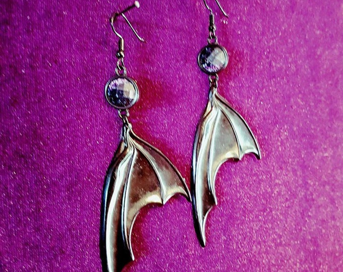 Black BatWings Earrings - galaxy shine vampire goth gothic black resin occult