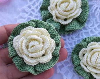 crochet flower for headband/flower for sewing/flower for scrapbooking/flower for jewerly