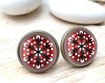 Snowflake Earrings, Nordic Earrings, Christmas Earrings, Cabochon Earrings, Christmas gift, Snowflake earrings, winter Earrings