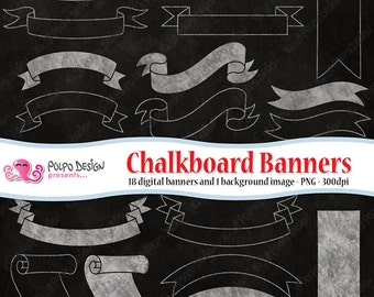 Chalkboard banners clipart. Commercial & personal Use. Instant Download. Digital scrapbooking clip art banner ribbon tag background border.