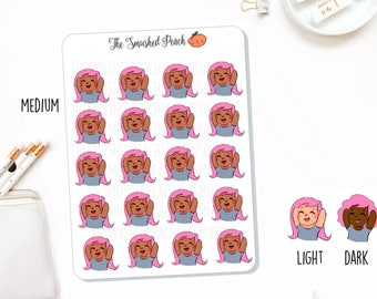 Limited Edition Pastel Pink Hair Excited Girl - Hand Drawn Planner Sticker Sheet