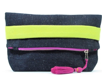 Denim clutch, foldover clutch, purse, evening bag, clutch bag, evening clutch, fun clutch,  colorful clutch