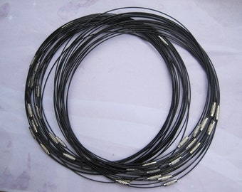 10pcs 1mm 18 inch black stainless steel wire necklace cord with matching connector