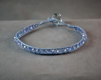 light blue beaded wrap bracelet