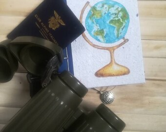 Travel journal, Bullet Journal, Notebook, A6 recycled paper Diary