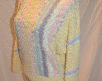 "Vintage Womens "" Barbara Sue ""  Yellow Pastel Striped Pullover Sweater - Size Medium"