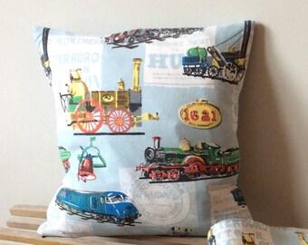 Vintage original train barkcloth fabric cushion