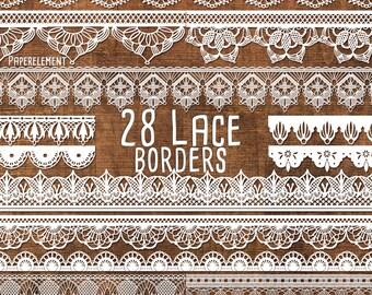 Lace Border Clipart Pack: Lace Border Clip Art, Lace Trim, Lace Vector, Wedding Clip Art Images, White Lace Digital Border, Wedding Graphics