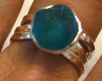 Turquoise Sea Glass Sterling Silver Ring - Size 8