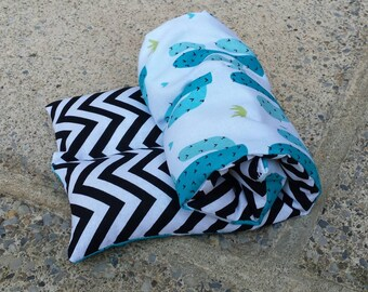 Lavender Infused Large Cactus and Chevron Rice Heating/Cooling Pad, Natural Heating Pad