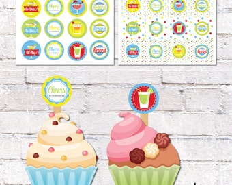 Retirement Party Cupcake Toppers and Cake Bunting. Retirement Party Decor. Printable / DIY.  *DIGITAL DOWNLOAD*