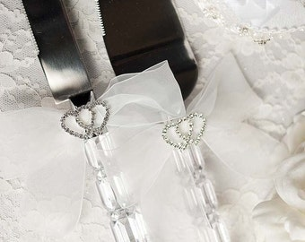Rhinestone Hearts Wedding Cake Server Set - Custom Engraving Available - 55335