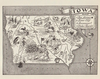 50's Whimsical IOWA Map of Iowa State Map Print Black and White Gallery Wall Art Library Office Decor Wedding Birthday Gift for Traveler