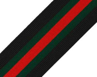 "2"" (50mm) Elastic Stretch Band Ribbon Trim for headband, hand band and waist belt, 1 yard, Black/Green/Red, TR-11589"