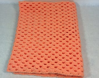 Lap blanket, Office chair throw, wheelchair lap blanket, crocheted cover, peach color