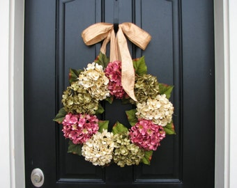 Hydrangea Wreaths, Summer Wreaths, Summer Hydrangea Wreaths, Summer Decorative Wreaths, Pink Hydrangeas, Green Hydrangeas