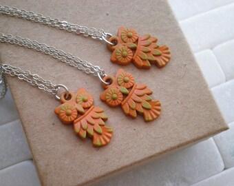 Woodland Owl Charm Necklace - Modern Rustic Miniature Owl Nature Jewelry Gift - Tiny Orange & Green Owl / Bird / Animal Totem Layering Charm