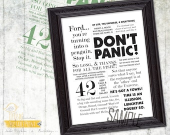 """The Hitchhiker's Guide to the Galaxy! - 8x10"""" Custom Print, Movie Quote, Poster"""