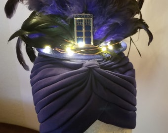Tardis, Dr Who, Doctor, Tardis Hat, Tardis Fascinator, LED, Light up hat, MsFormaldehyde, Blue feather, Feather hat