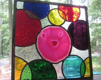 "Large pink agate slice stained glass panel.....""Happy"""