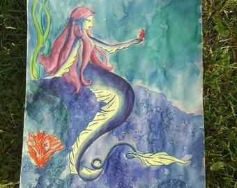 Ribbon Eel Mermaid Original Watercolor Painting