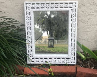 Vintage Wicker Design Mirror - Palm Beach Chic - Boho Eclectic Vibes