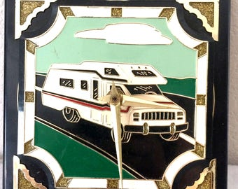 1989 Vintage RV Recreational Vehicle Plastic Hang Up Clock by Ramar Ind. RARE!!