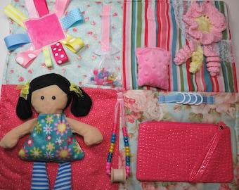 Doll on Soft Pastels Fidget, Sensory,  Quilt Blanket for Dementia,Alzheimer's, Autism