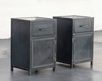 Custom Industrial Steel Nightstand Lowboy Cabinets by Rehab Vintage Interiors, Made to Order