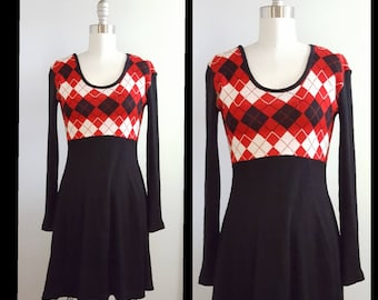 Preppy daze | 1970s argyle knit dress | 70s sweater dress