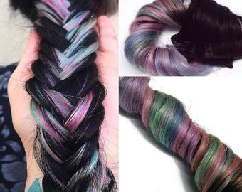 Rainbow Clip in Human Hair Extensions Pastel Ombre Pink Purple Mint Green Great For Highlights Underlights Braids Dark & light hair