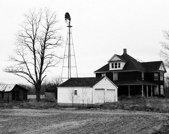 Barn Photography--Black and White photography-Farm photo-Rural-Indiana-8x10