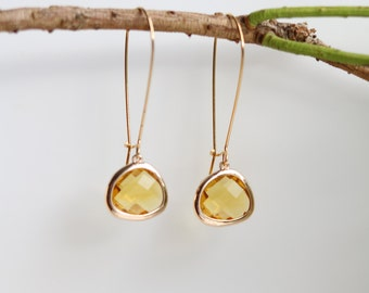 Yellow Citrine Quartz Earrings - Gold Dangle Earrings - Drop Earrings - Birthstone Earrings - Citrine Earrings - Citrine Jewellery