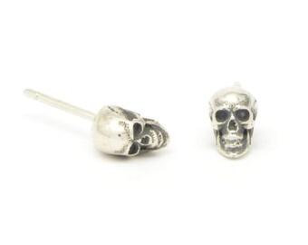 Tiny Skull Stud Earrings - Silver Skull Earrings - Gothic Skull Earrings - Skull Jewellery - Calvariam Skull Studs - Sterling Silver