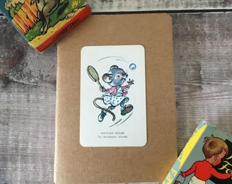 Wimbledon Notebook with vintage playing card cover A6 size