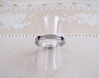 Art Deco Sapphire CZ Eternity band Ring in sterling silver, Stacking band, promise ring, size 7