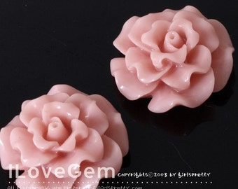 RC188-1 Resin (Indian Pink) Flower, Cabochon, 8pcs