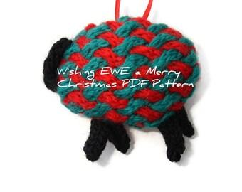 PDF Knitting Pattern Christmas Sheep Lamb Hanging Ornament Holiday Decor Tree Trimming Digital Download Knit Instructions