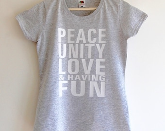 Peace & Love Women's Fitted T-shirt - Grey