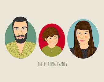 Mother's day gift. Personalized Family portrait. Cartoon family portrait. Custom Family Illustration. Portrait from photo. Fathers day gift.