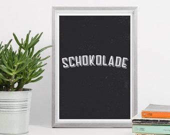 Printable Wall Art - Minimal Typography Black - Chocolate