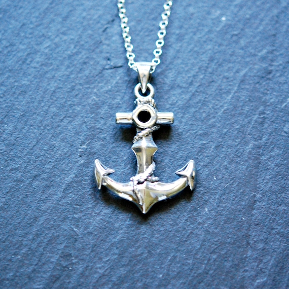 Silver anchor necklace sterling anchor pendant sailor like this item aloadofball Images