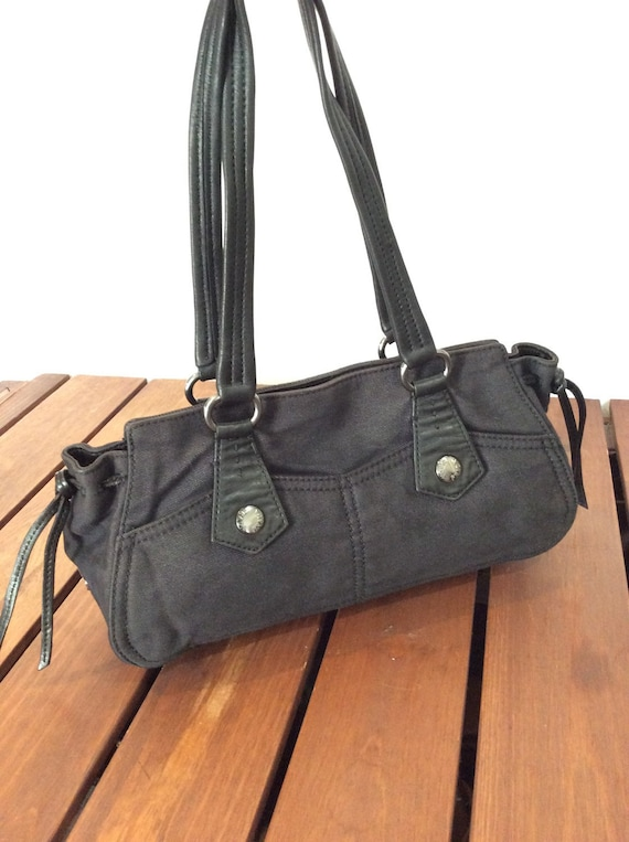 5bb40979dd2 PRADA Vintage Fashionable Authentic Black Fabric and Leather