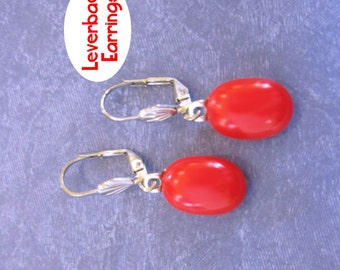Tomato Red Leverback Earrings, Dangle Light Red Leverbacks, Fused Glass Jewelry, Silver Plated Leverback - Krista - 372 -4