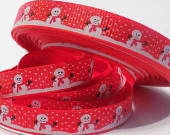 Snowman Ribbon - Christmas Ribbon - Crafting - Scrapbooking - 1 Yard