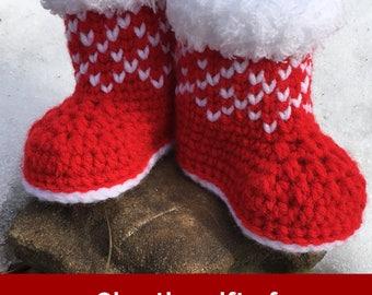 Christmas Baby Booties Crochet Pattern/ Winter Booties Crochet Pattern/ Crochet Pattern Newborn Shoes/ Winter Baby Booties Pattern/ Booties