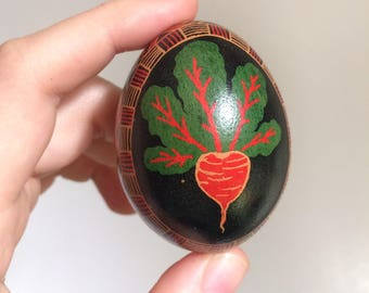 Radish and Flower Decorated Egg Pysanky